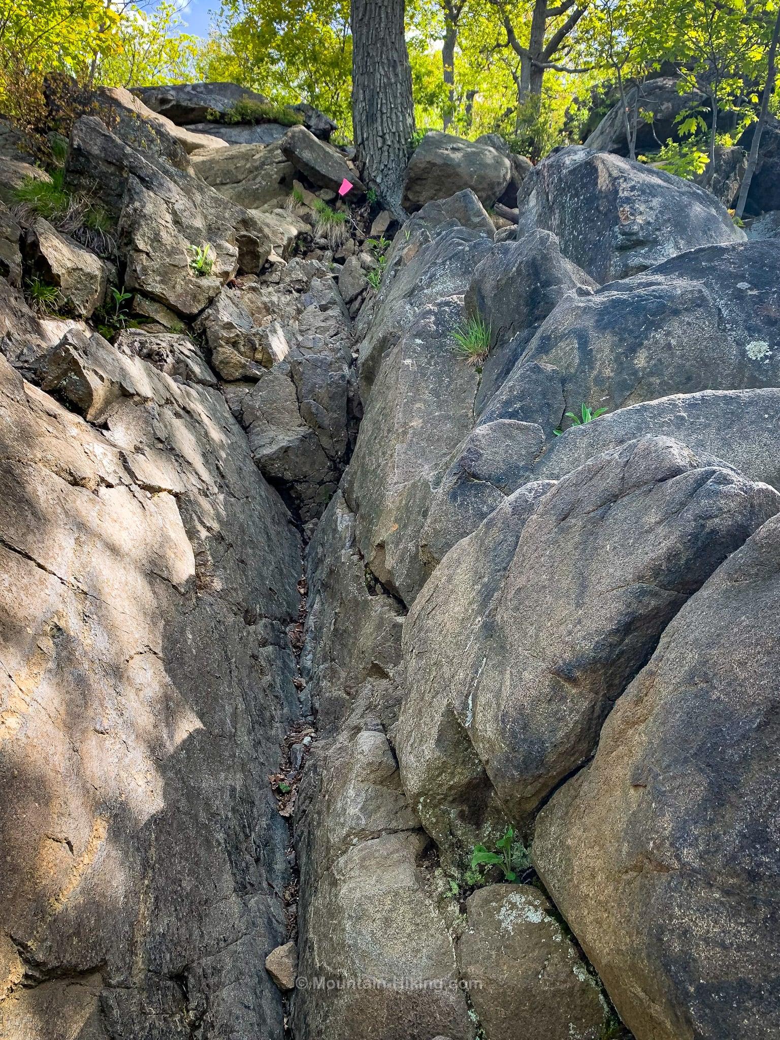 very steep rocky trail