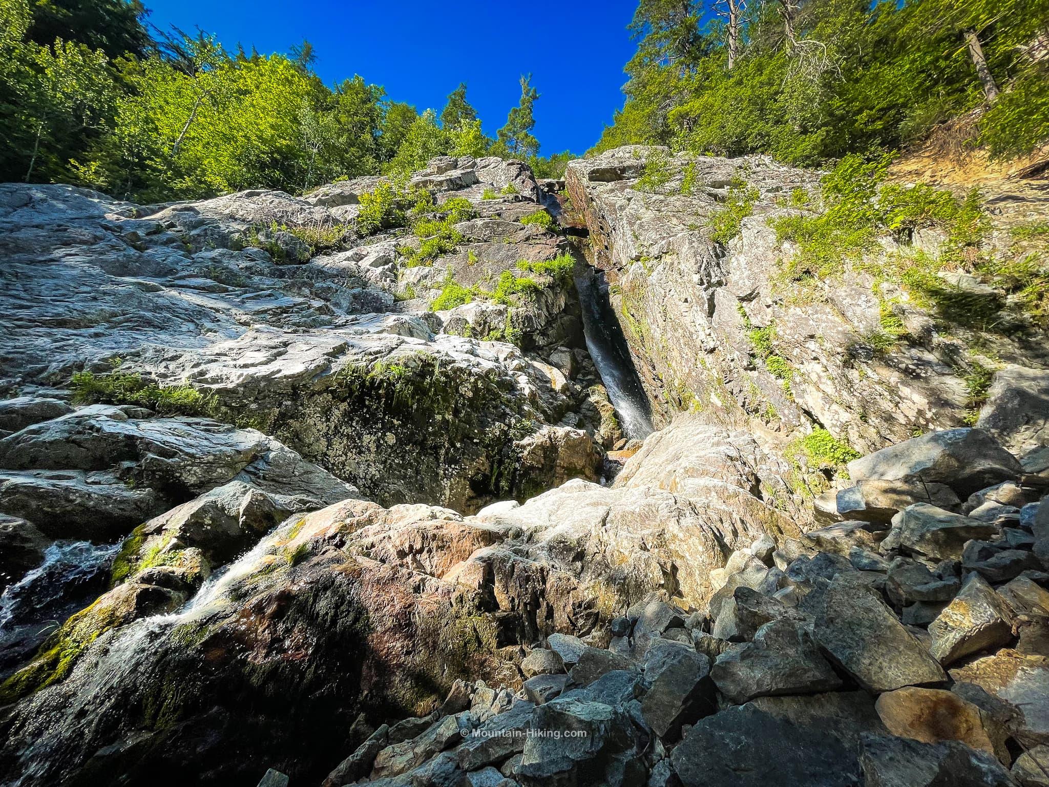roaring brook falls seen from below