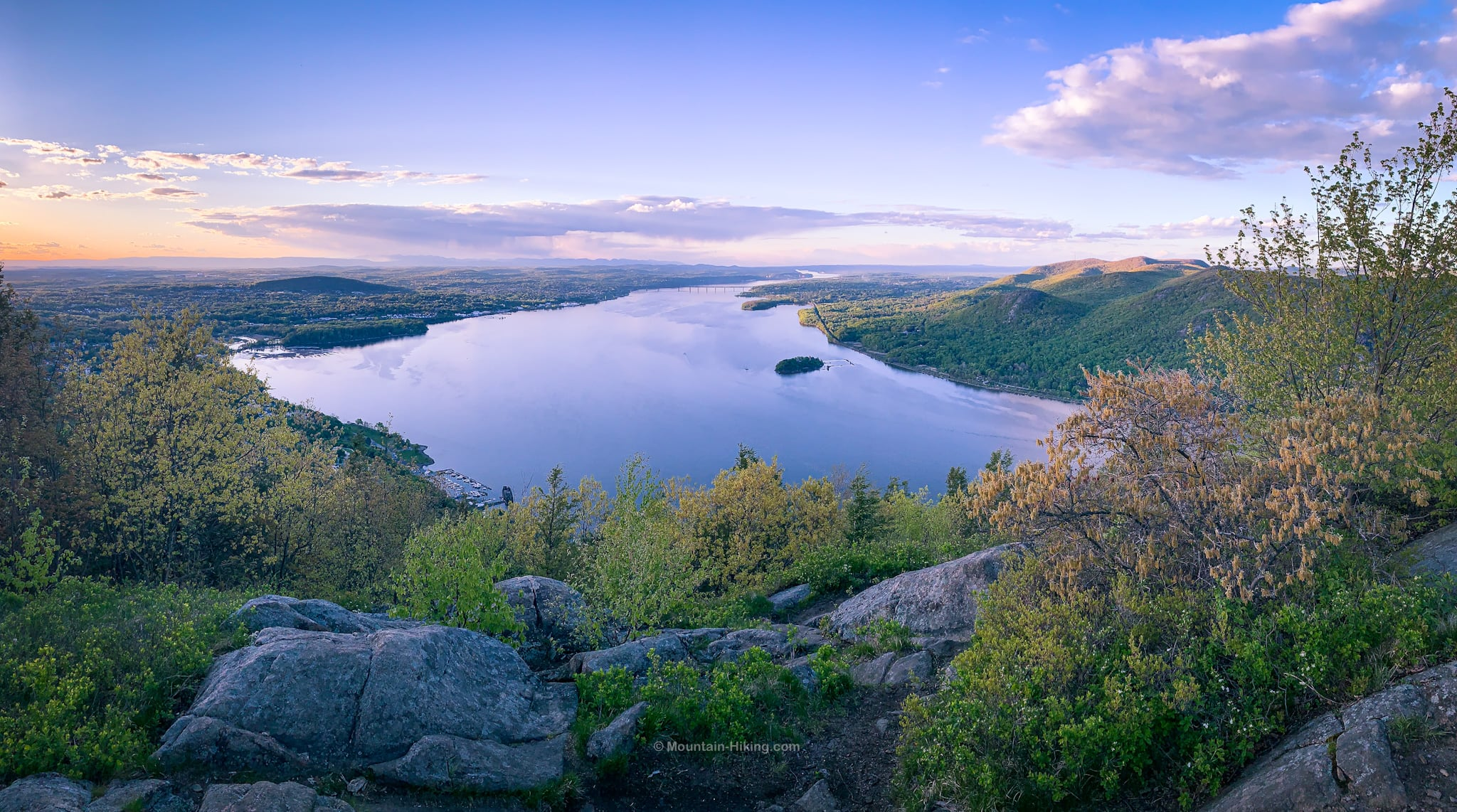 storm king mountain view of Hudson River looking north at dusk