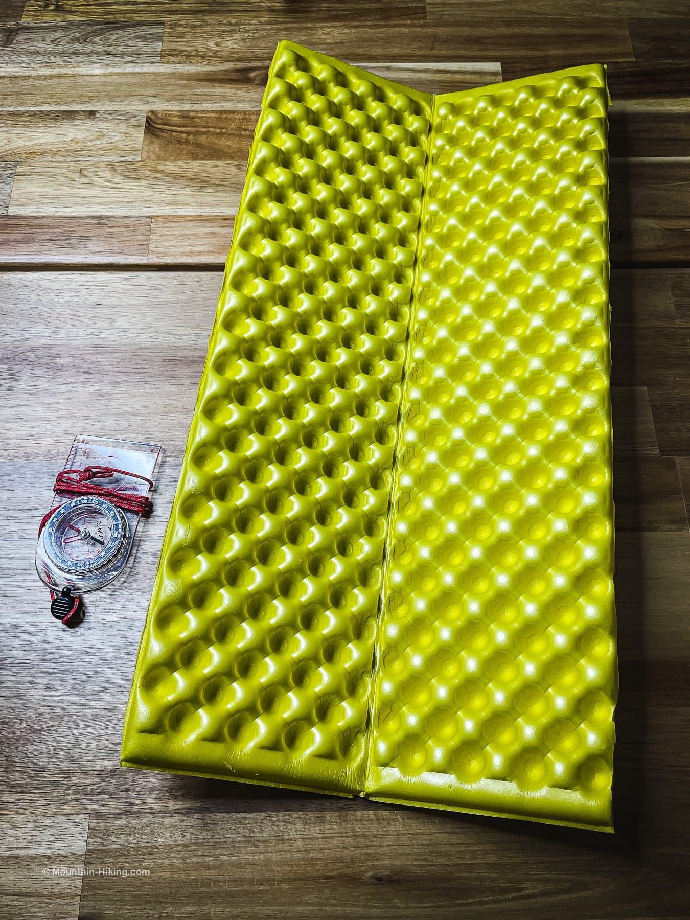 yellow side of sleeping pad