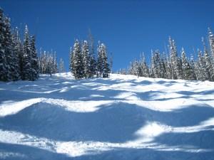 Snow on the ski slopes in the springtime