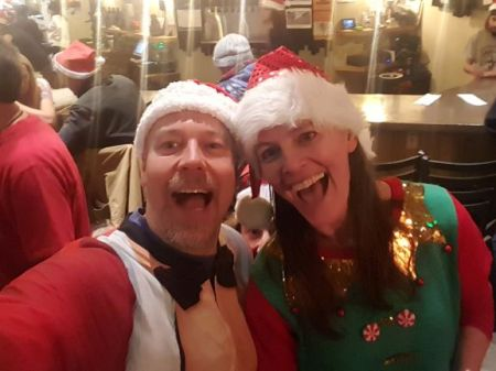 Jason and Meredith having Holiday fun at an event in Summit County