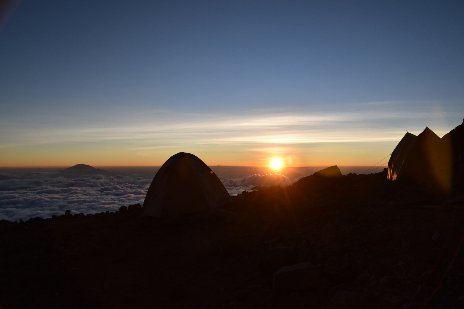 Sunset at Arrow Glacier camp - base camp for the ascent of the Western Breach climb on Kilimanjaro