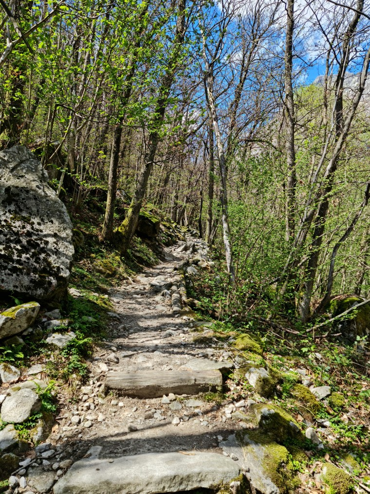 Well-worn stone steps on Valle Verzasca trail