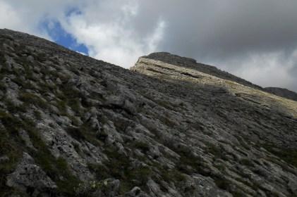 Just below the south ridge