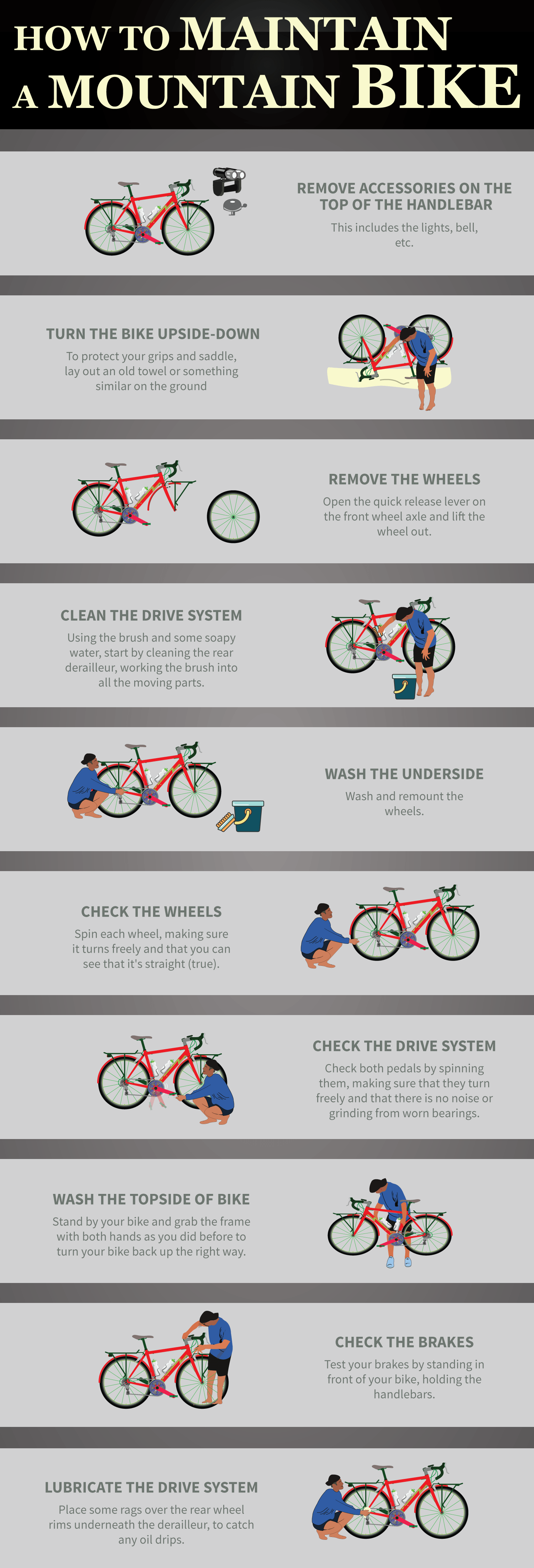 How to Maintain a Mountain Bike in 10 easy steps Infographic