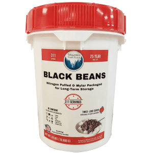 Muontain Fresh Foods Black Beans 24 Lbs in LifeLatch Bucket
