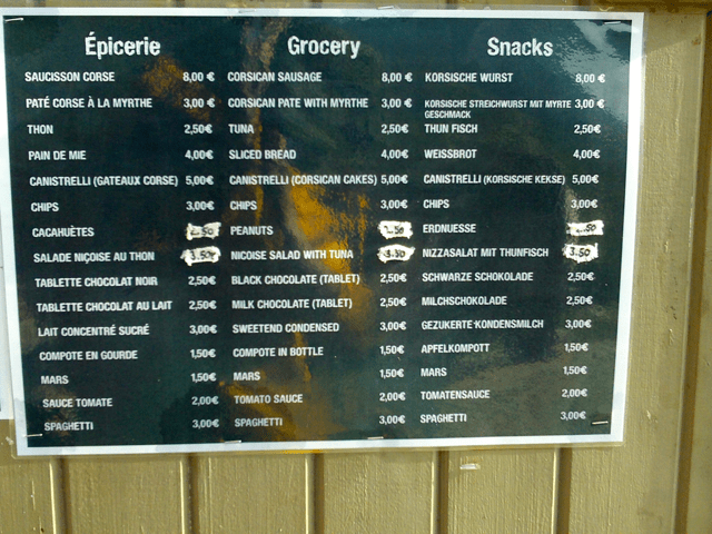 And example of the groceries available at Manganu. (correct in July 2013)