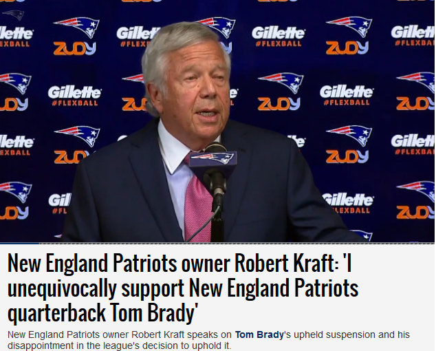 Patriots Owner Robert Kraft Defends Brady & Blisters NFL