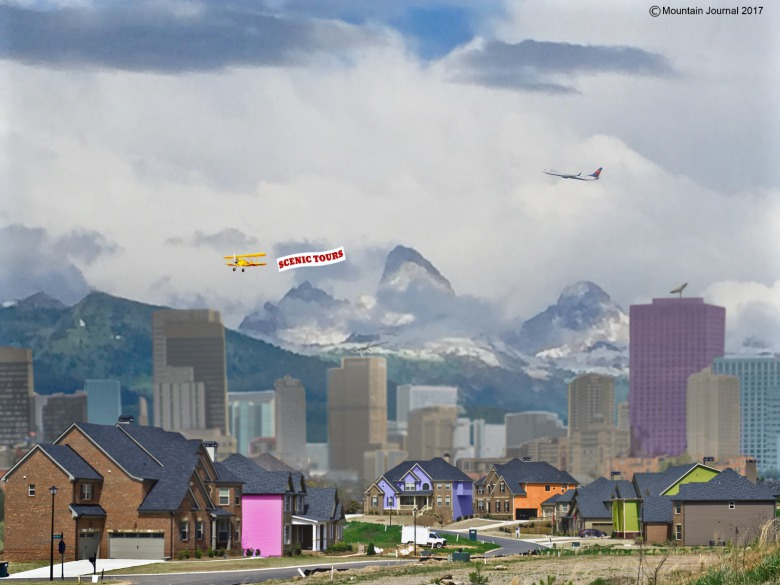 Click to enlarge photo: While the viewsheds on the east side of the Tetons are protected by the presence of Grand Teton National Park, the west side of the iconic mountains is experiencing a huge spillover effect from Jackson Hole. Teton Valley, Idaho also is facing growth pressures emanating from Idaho Falls and Rexburg.  Composite photo of Teton Valley, Idaho facing the Tetons created by MoJo staff