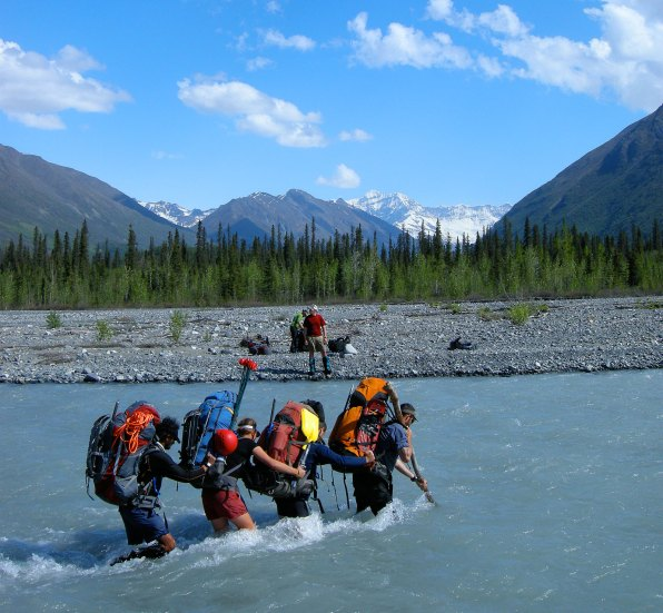 Crossing big water, headed for the distant snowy mountains, Wrangell-St. Elias NP.