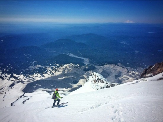 The author, skiing into the rollover at the top of the face, with Oregon spread all around.
