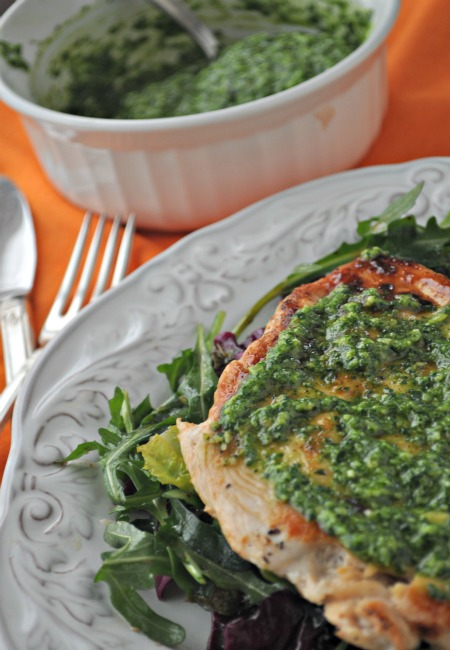pan seared chicken with cilantro pesto, mountain mama cooks