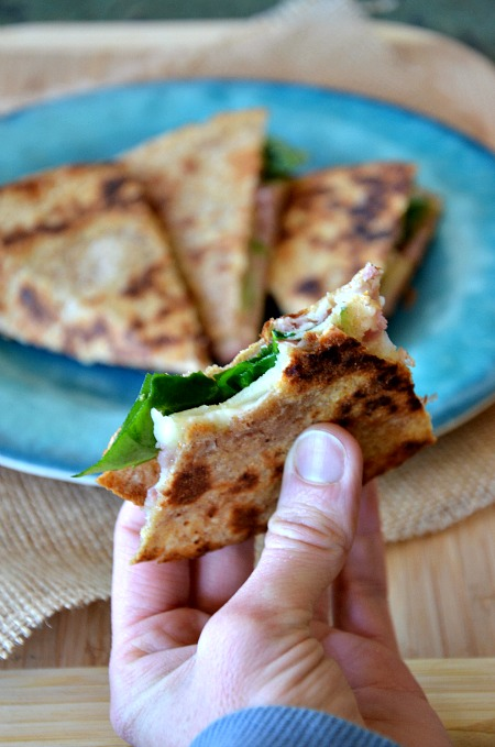 Whole wheat quesadilla with ham, swiss & apple, www.mountainmamacooks.com