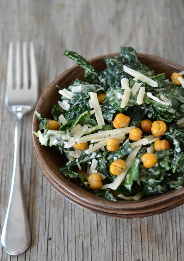Kale Caesar Salad with Crispy Garbanzo Bean Croutons Recipe, www.mountainmamacooks.com