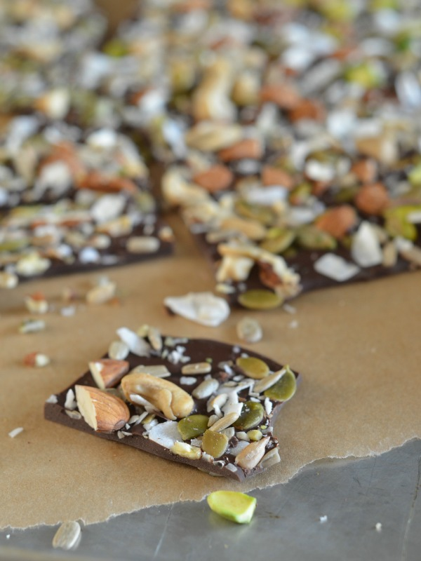Salted Dark Chocolate Bark with Nuts and Seeds, www.mountainmamacooks.com