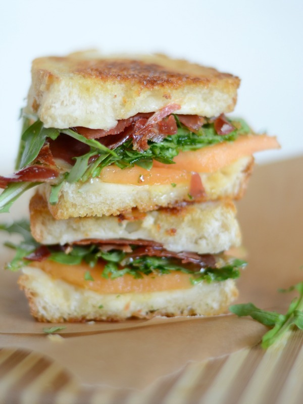 prosciutto and melon grilled cheese, www.mountainmamacooks.com