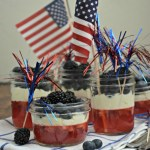 4th of July jello, whipped cream and berry dessert, www.mountainmamacooks.com
