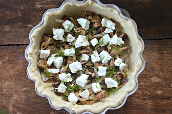 Caramelized Onions, Mushrooms, Goat Cheese, Dill Quiche, www.mountainmamacooks.com