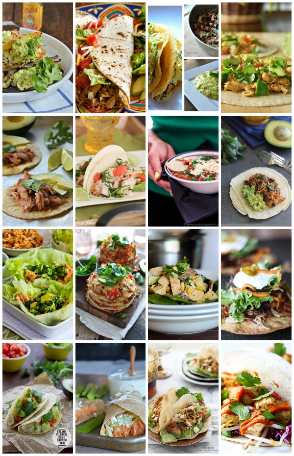 16 chicken taco recipes from favorite food bloggers, www.mountainmamacooks.com #tacotuesday