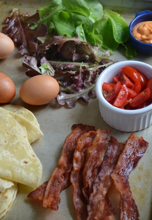 BLT, scrambled egg breakfast taco, www.mountainmamacooks.com