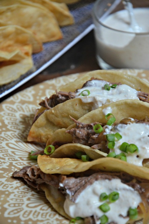 pot roast tacos with horseradish sauce, www.mountainmamacooks.com