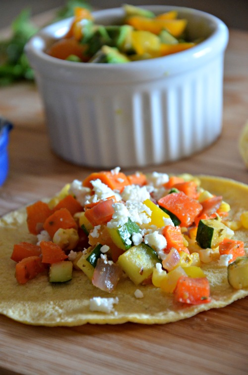 Summer Tacos with Sautéed Veggies and Refried Beans, www.mountainmamacooks.com
