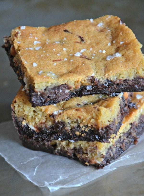 """Salted Triple Chip """"Crownies"""", Brownie + Cookie Bar, www.mountainmamacooks.com"""
