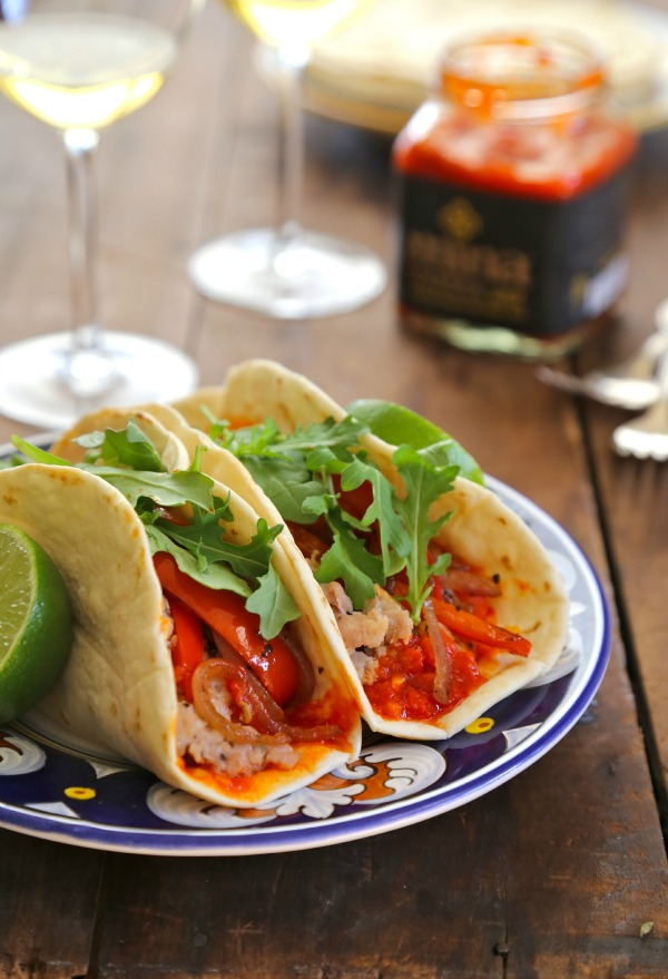 Moroccan Chicken Tacos with Harissa