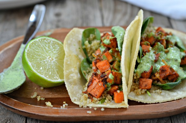 Crispy Quinoa & Spicy Sweet Potato Tacos | mountainmamacooks.com