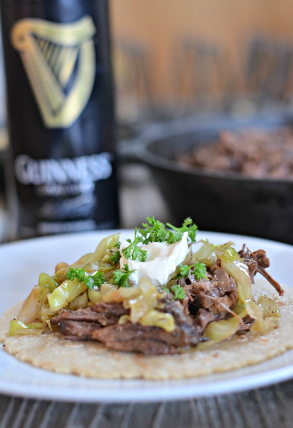 Guinness Braised Short Rib Tacos with Beer Braised Cabbage | mountainmamacooks.com