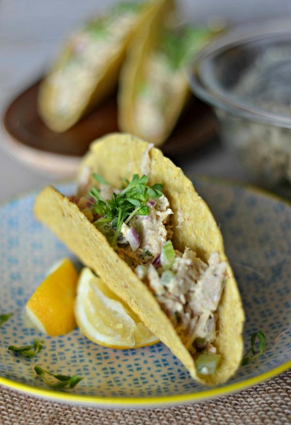 Lemon Caper Tuna Salad Tacos | mountainmamacooks.com #TacoTuesday #GlutenFree