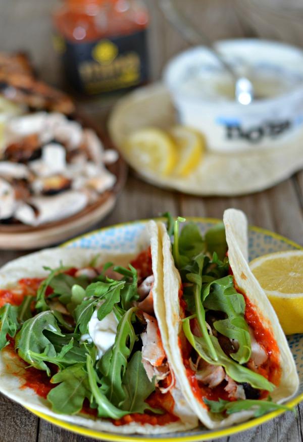 Yogurt Marinated Chicken Tacos with Harissa | mountainmamacooks.com