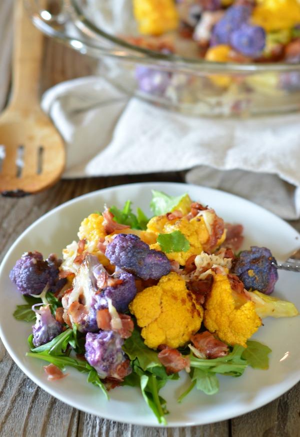 Roast Cauliflower and Pancetta Gratin | mountainmamacooks.com