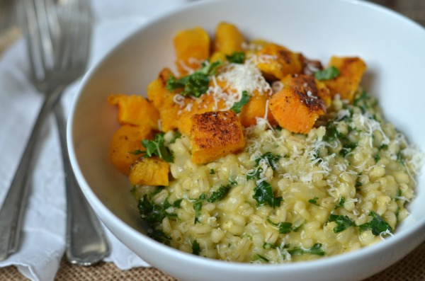 Barley Risotto with Kale and Butternut Squash | mountainmamacooks.com