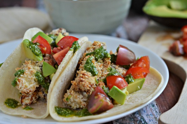 Crispy Eggplant Tacos with Cilantro Sauce | mountainmamacooks.com #TacoTuesday #EatSeasonal