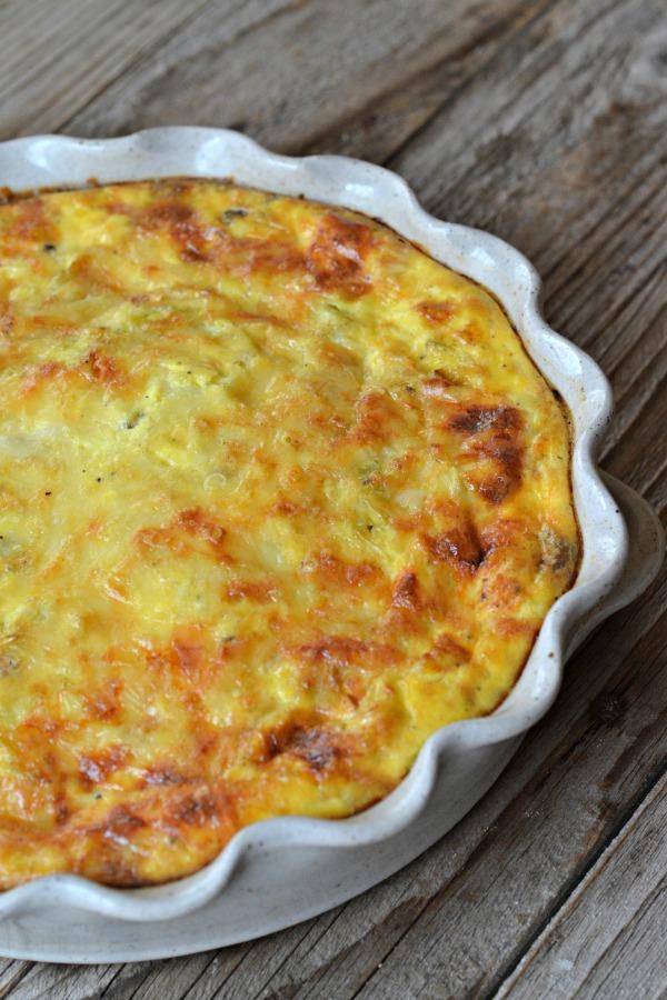 Sausage, Mushroom, Leek and Swiss Quiche | mountainmamacooks.com