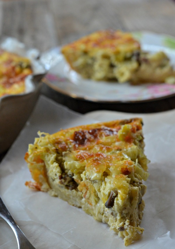 Sausage, Mushroom, Leek and Swiss Quiche | mountainmamacooks.com