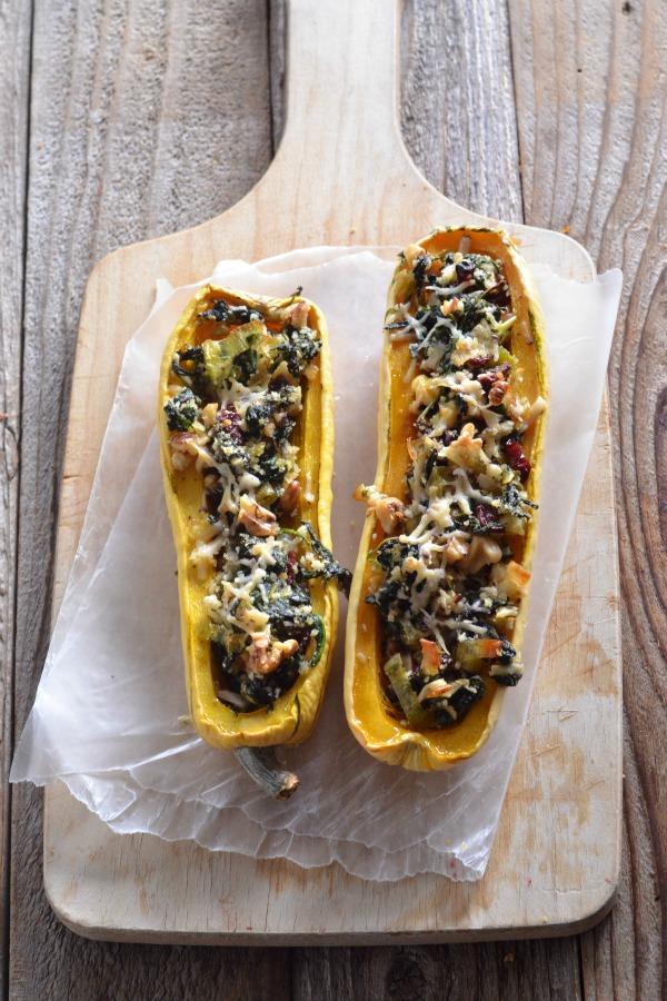 Vegetarain Stuffed Delicata Squash | mountainmamacooks.com