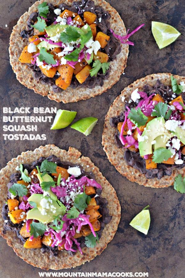 Butternut Squash and Black Bean Tostadas | mountainmamacooks.com