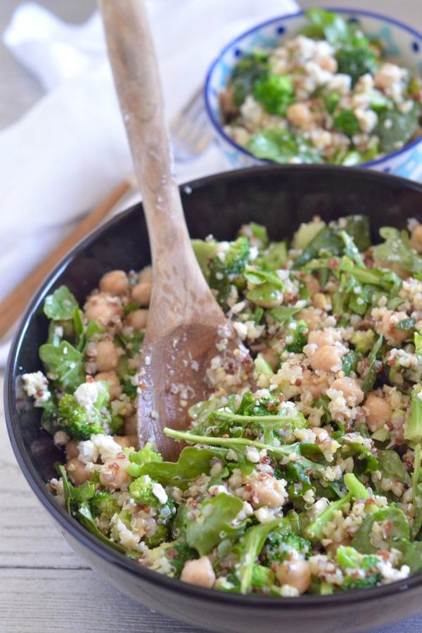 Quinoa Broccoli Salad with Feta and Spinach   mountainmamacooks.com