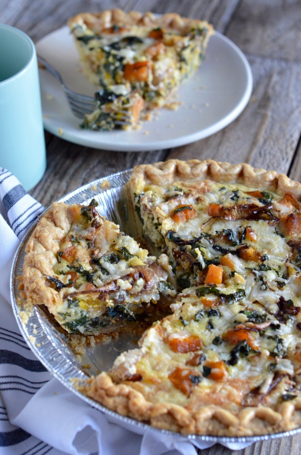 Butternut Squash and Kale Quiche with Creme Fraiche | mountainmamacooks.com