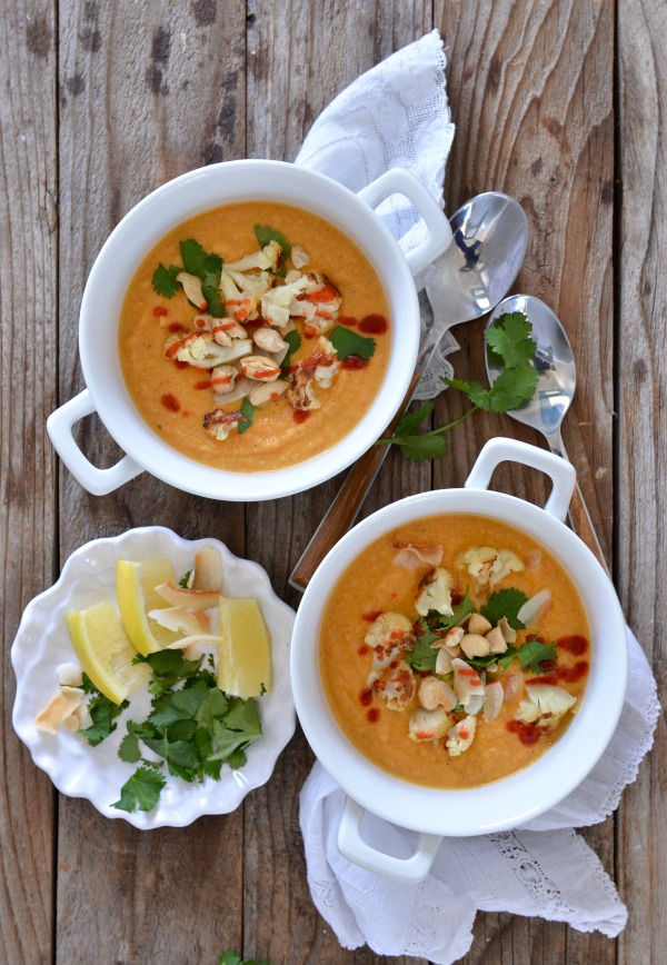 Thai Red Curry Cauliflower Soup | mountainmamacooks #eatseasonal