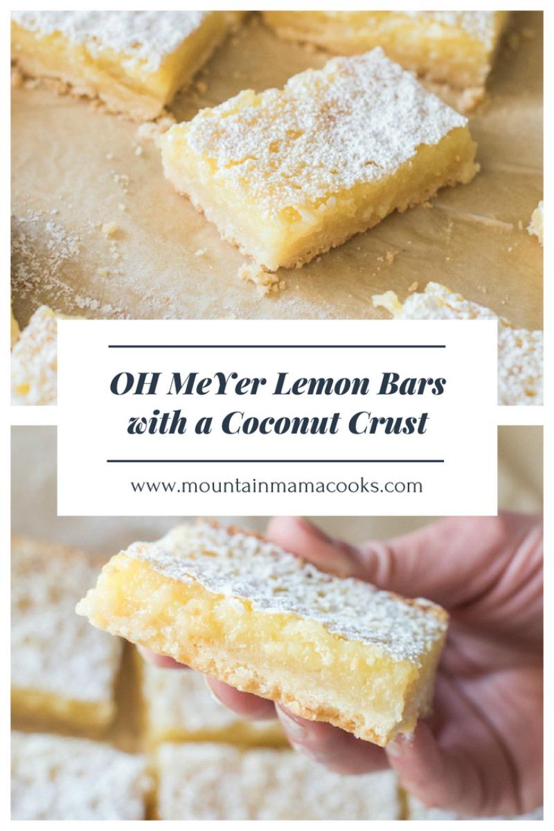 Meyer Lemon Bars with Coconut Crust | www.mountainmamacooks.com