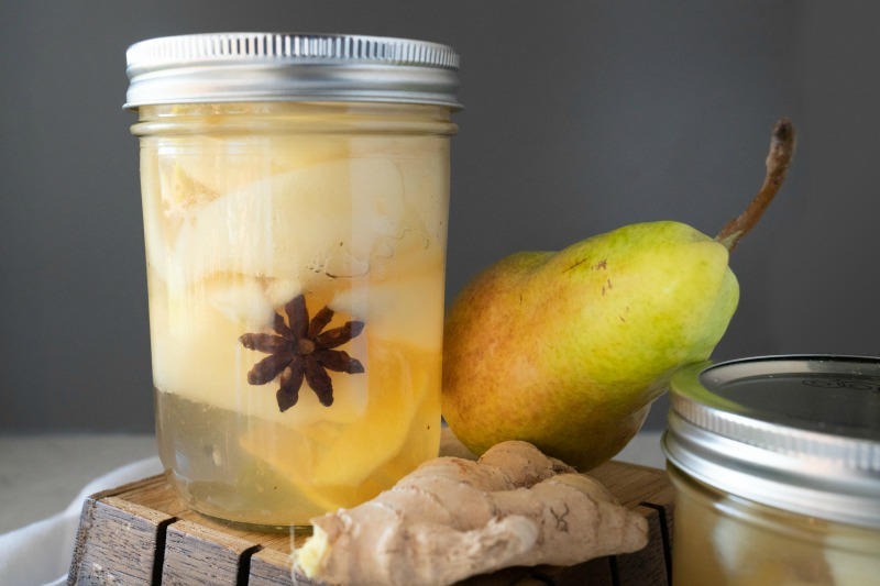 Fresh ginger, star anise, sweetened simple syrup make up this recipe for canning pears. www.mountainmamacooks.com