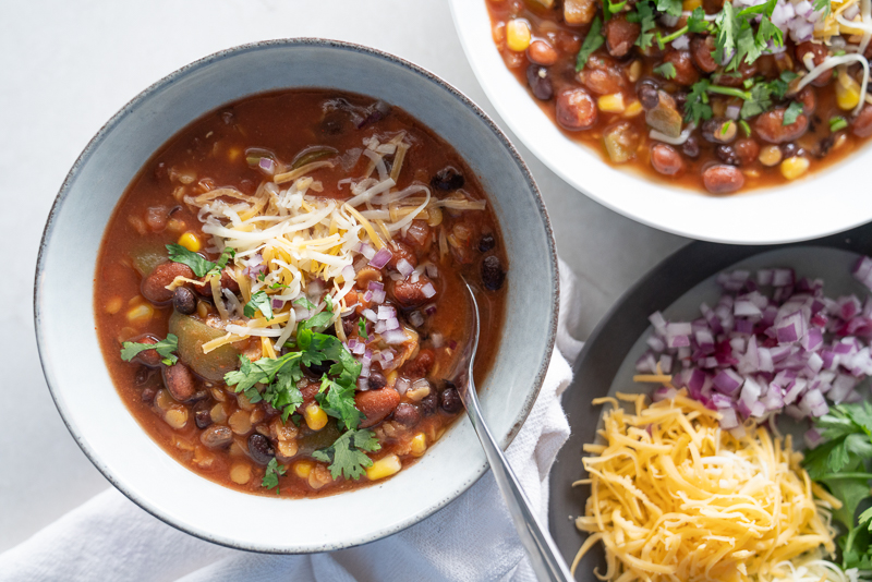 A vegetarian chili recipe using lentils and canned salsa made in the slow cooker. www.mountainmamacooks.com
