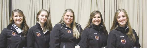 Team photo includes: Shelley Brown, APSC sophomore of Gloucester, VA (left); Andrea Oliver, APSC junior of Albemarle, VA; Hannah McDonald of Cross Junction, VA; Taylor Ford of Lewisburg and Hannah Geisler of Westport, CT. The team was coached by Dr. Julia McCann in the Animal and Poultry Science Department.