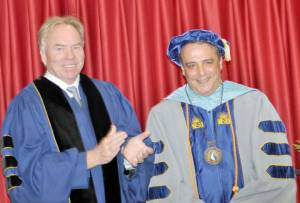 Dr. Glenn DuBois (left), Virginia Community College System chancellor, officiated at  the investiture and inauguration of Dr. John J. Rainone as the president of Dabney S. Lancaster Community College Sept. 19