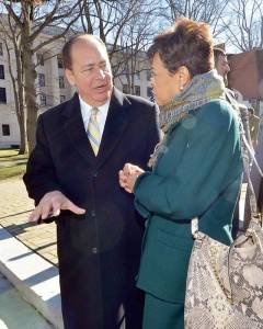 Gov. Tomblin congratulates the recipient of the 2015 Martin Luther King Jr. Human and Civil Rights Award, Janice Cooley of Lewisburg. (Photo courtesy of the Governor's Office)