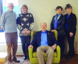 The Friends of the Blue Committee - Skip Deegans (left), Cathy Bolt, Alex McLaughlin, chair; Margaret Hambrick and Irma Smith Cadle